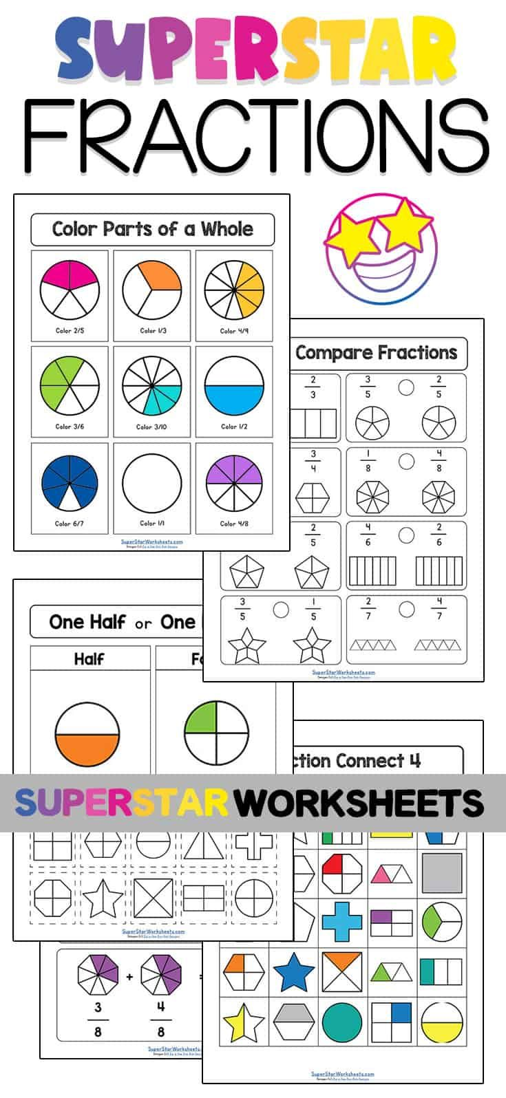Free Fractions Worksheets From Superstarworksheets Com You Ll Find Equal And Unequal Parts Addition An Fractions Worksheets Fractions Free Fraction Worksheets [ 1596 x 735 Pixel ]