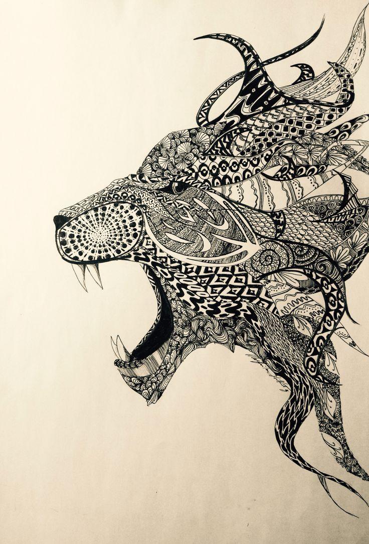 Lion, african pattern, zentangle, black, pen