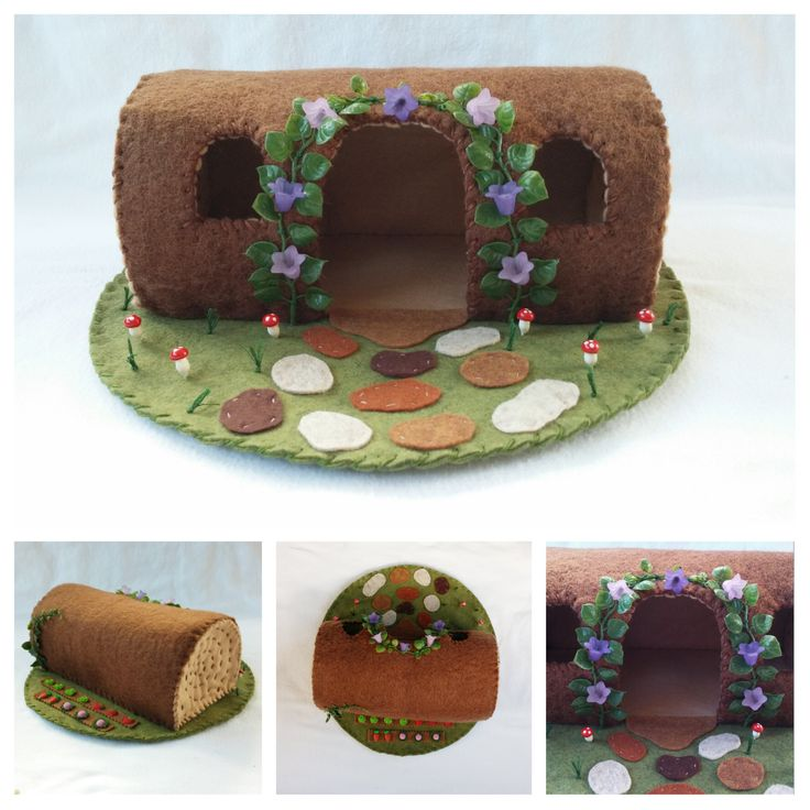 Felt Wool Hollow Log Woodland Play Mat Playscape Fairytale Fairy House Animal Gnome Purple Trumpet Flower Red Mushroom Vegetable Garden Toy by MyBigWorld2015 on Etsy