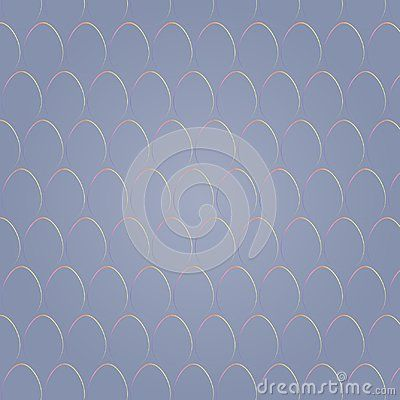 Vector Easter seamless pattern with egg shapes in rainbow colors on blues gray color background.