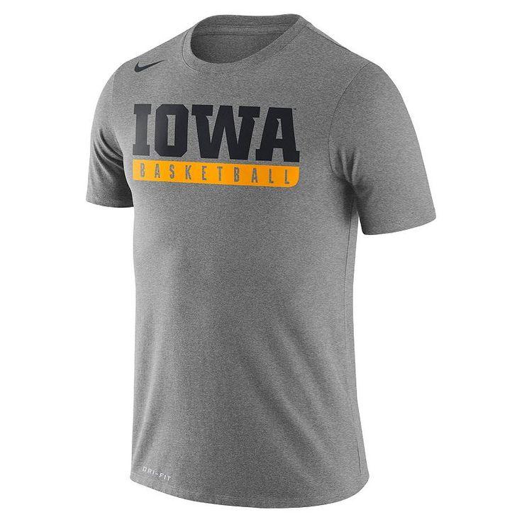 Men's Nike Iowa Hawkeyes Basketball Practice Dri-FIT Tee, Dark Grey
