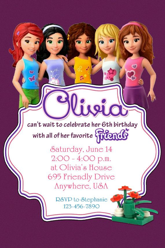 LEGO FRIENDS Birthday Party Invitation  by twotwelvedesigns, $5.50 #lego #friends #invitation