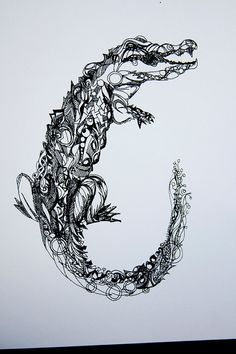 alligator tattoo zentangle - Google Search
