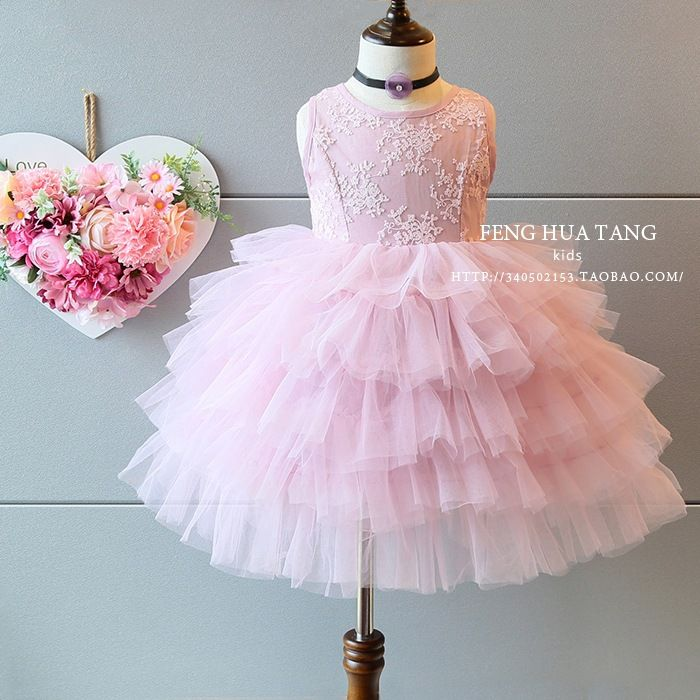 Детская одежда девочек Западный стиль Принцесса торт платье 2017 летнее платье новой корейской версии корейской версии кружева платье жилет юбка-Таобао мировой станции