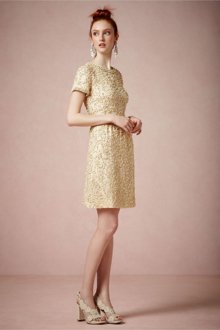 gold vintage inspired short wedding guest dress by bhldn ...