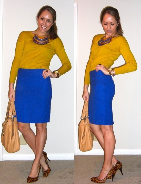 royal blue skirt, check. mustard sweater, check.