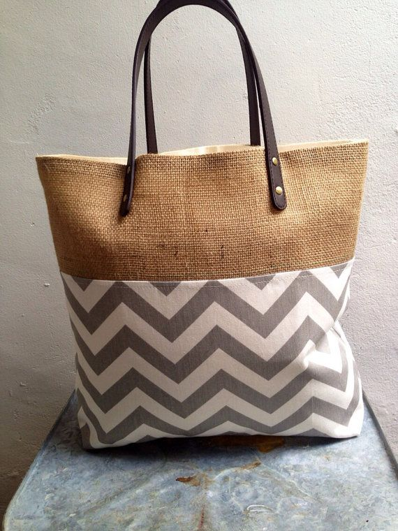 Gray and white burlap tote bag by PoppyKosh on Etsy, $38.00