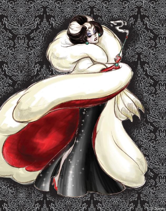 Esquisse CRUELLA (Les 101 Dalmatiens) - La collection exclusive Disney Store des méchantes de Disney en édition limitée disponible du 10 septembre au 15 octobre sur Disneystore.fr - © Disney  #CRUELLA