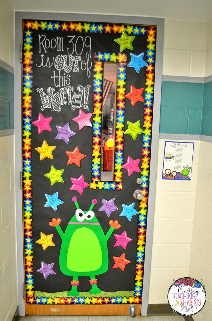 Come check out my intergalactic classroom! Also, get a closer look at our spacey doorway. :)