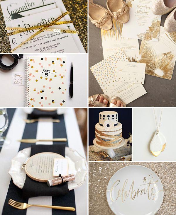 Schwarz, Gold und Glitzer Konzept Hochzeit