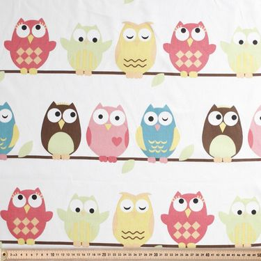 Owls Uncoated Kids Fabric Multicoloured 120 cm