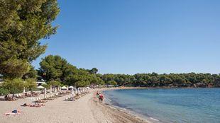 Strand van Es Niu Blau - rustig, relaxed, vlakbij Santa Eularia, paar restaurantjes en snackbarretje