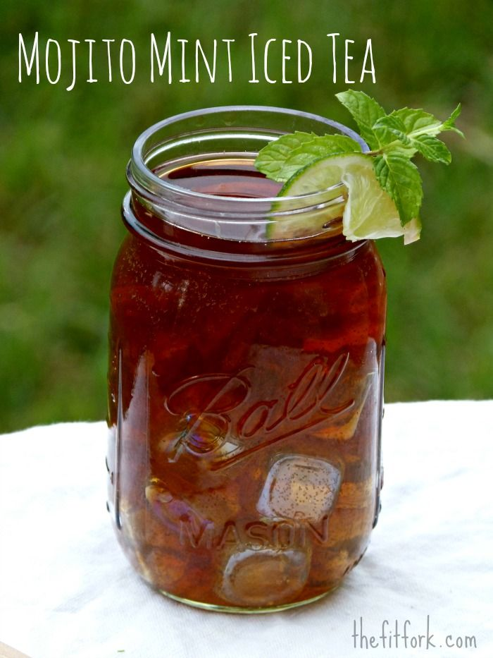 Mojito Mint Iced Tea -- brewed in the summer sun so you don't have to get the kitchen hot! Lime, mint and naturally sweet stevia give keep this refreshing beverage nearly calorie free. Perfect for outdoor entertaining!   thefitfork.com