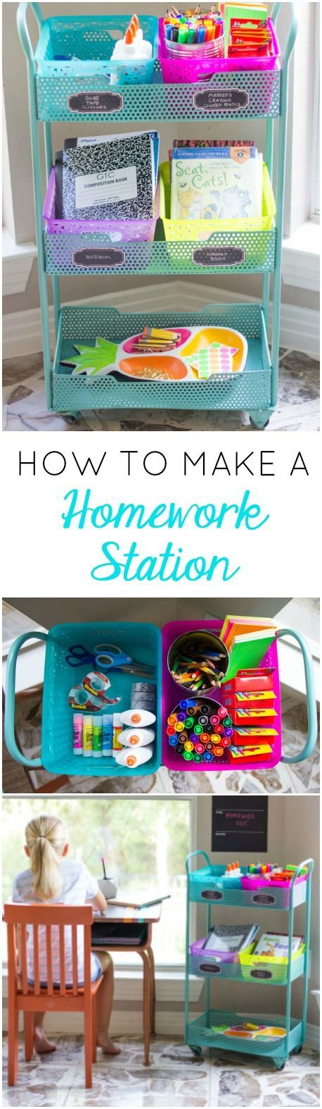 Turn a cart into a DIY homework station - so handy!