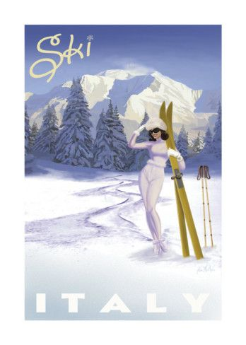 ITALY - Vintage Style Travel Poster - #Winter Sports #ski {NOTE}