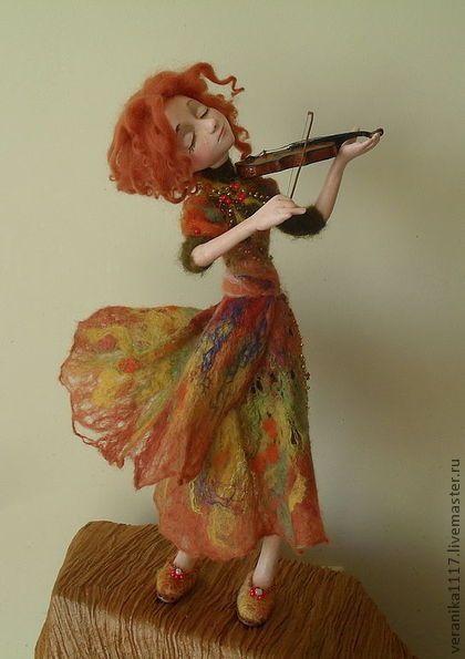"*NEEDLE FELTED ART ~ Collectible handmade dolls.  Fair Masters - handmade Dolls ""Autumn Sonata"" ..  Handmade."