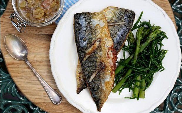 Grilled mackerel with gooseberry relish