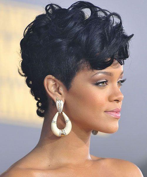 Rihanna's Black Curled Mohawk