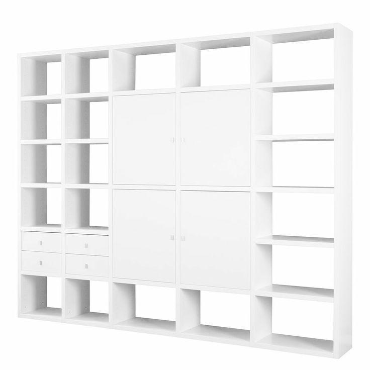 Regalwand Wohnwand Weiß Dekor Bücherregal Regal Schrankwand Bibliothek NEU