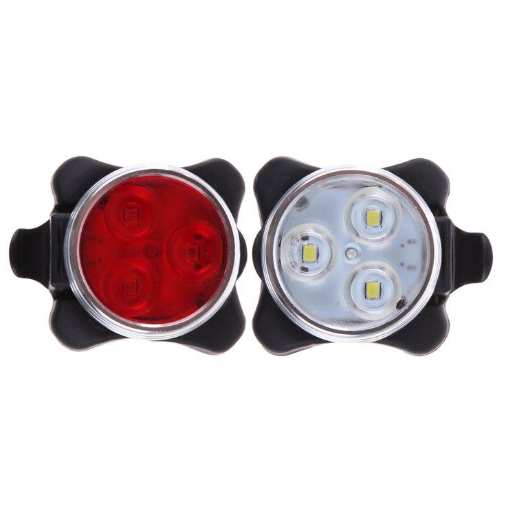 Práctico Cabeza Delantera de la Bicicleta de Ciclo Bike 3 LED de Cola Trasera de luz de La Batería Recargable Con Cable de Carga USB 2 Colores Disponibles