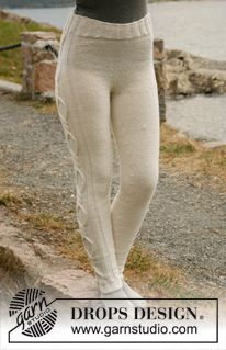 "Knitted DROPS tights with cables in ""Karisma"". Size: XS - XXL ~ DROPS Design"