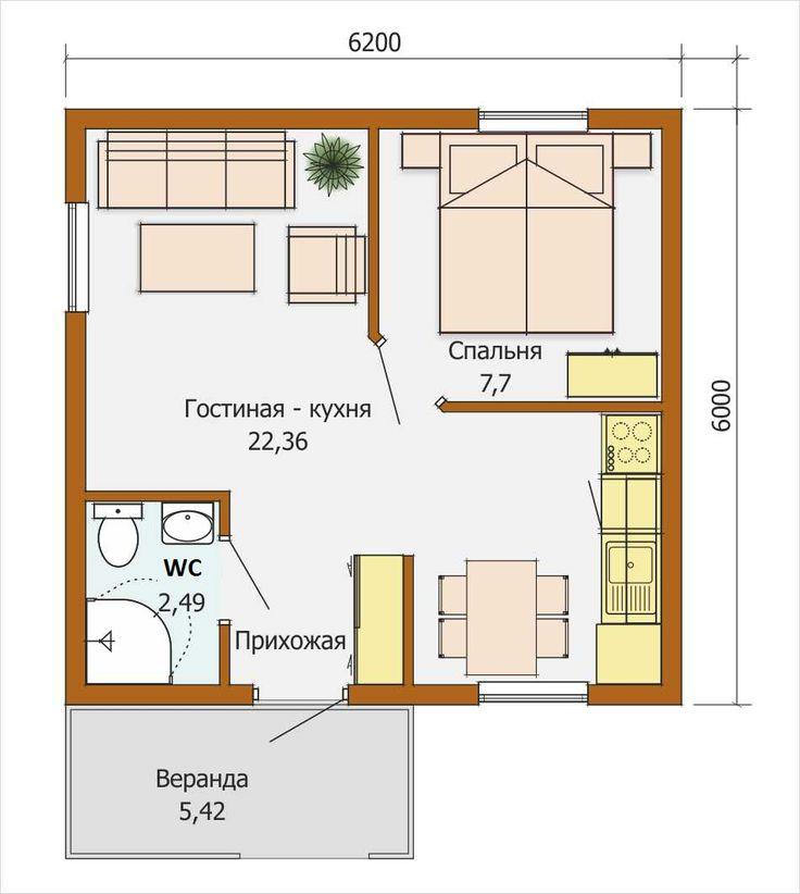 Планировка мини дома размером 6х6