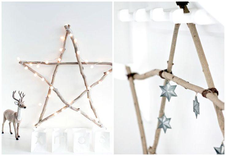 Świąteczne gwiazdy zrobione z gałązek. Twig Star Ornaments.