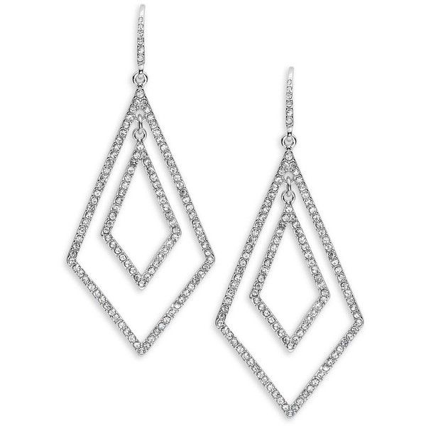 A.B.S. By Allen Schwartz Prom Queen Double Geometric Pavé Earrings ($65) ❤ liked on Polyvore featuring jewelry, earrings, silver, geometric jewelry, gold tone earrings, geometric earrings, pave jewelry and gold tone jewelry