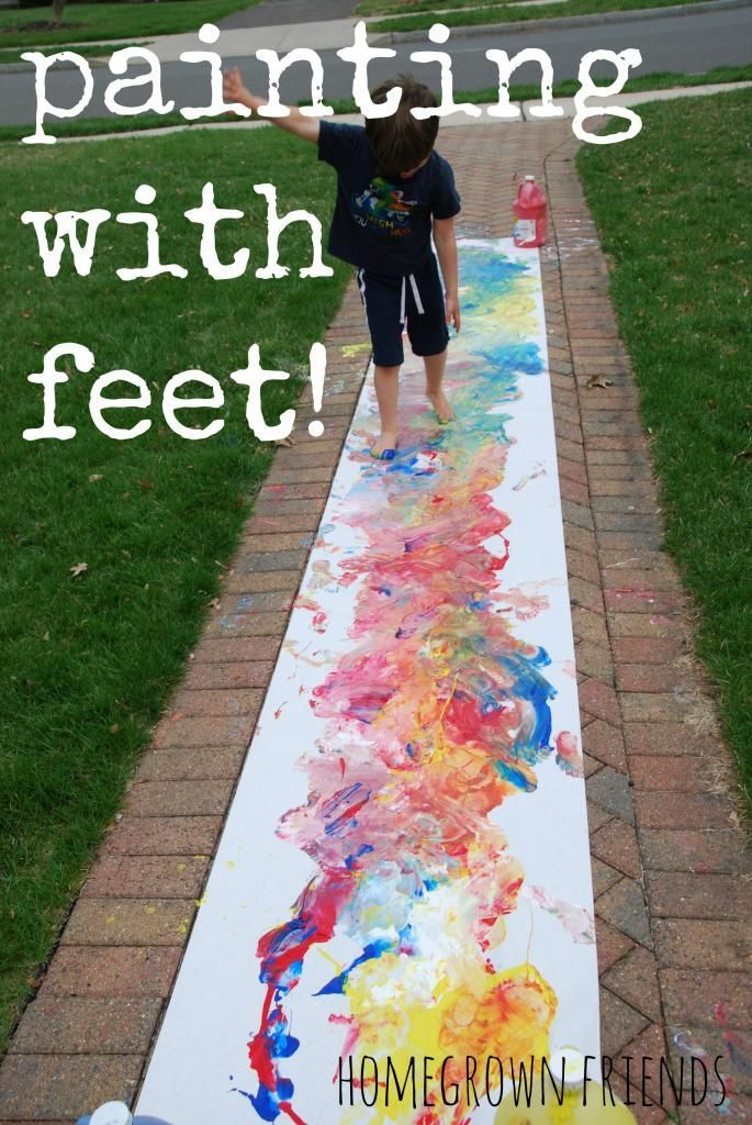 Great way for children to explore paint and feel it between their toes! Great for all ages