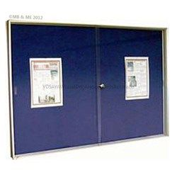 Weather Proof 2 x sliding door display case with a choice of natural cork, velour fabric or Krommenie Laminate pin board backing. Key locking 6.4mm hardened safety glass with beveled edges and recessed finger slots.  Satin finish aluminium frame with mitered corners.  Available in 1200mm x 900mm, 1500mm x 900mm, 1800mm x 900mm, 1800mm x 1200mm and 2400mm x 1200mm