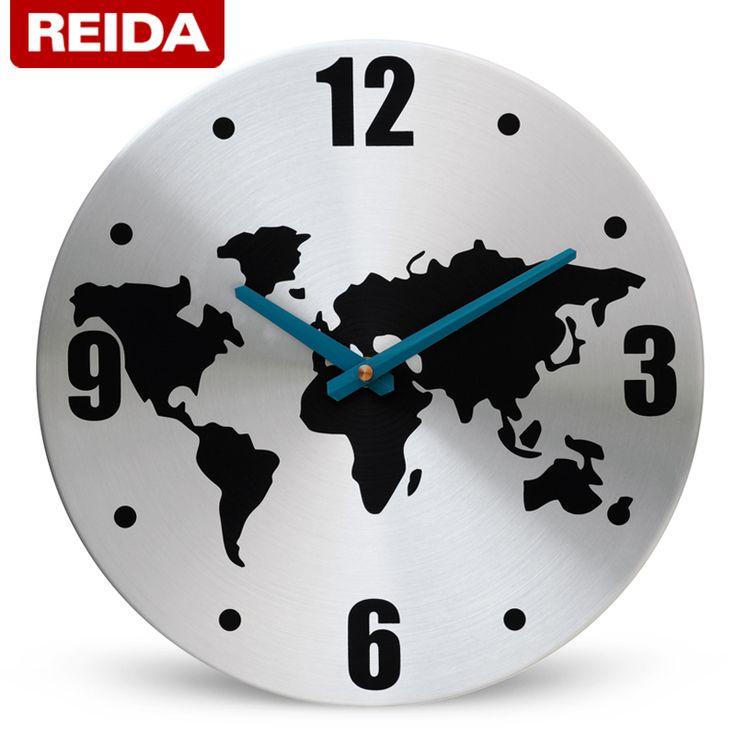 Reida aluminio frame reloj de pared 12 pulgadas breve mapa del mundo reloj de pared(China (Mainland))