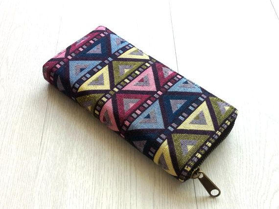 Colorful Geometric Triangle Wallet, Aztec Tribal Womens Wallet, Teen girl Hipster Wallet, Unique, OOAK , Cute Gift for her