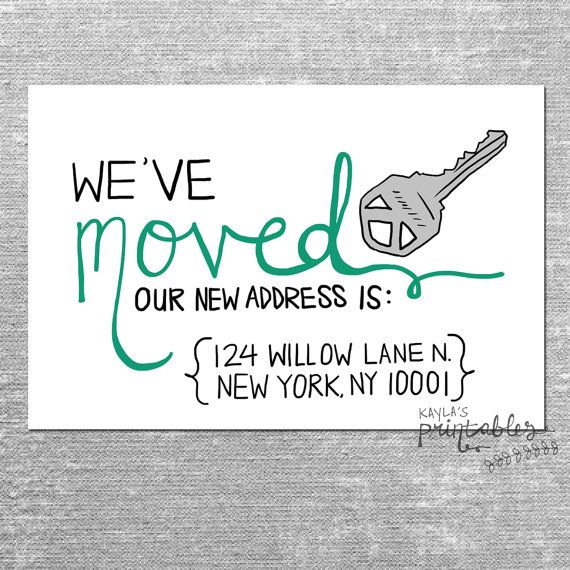 WE'VE MOVED Card with Custom Address - 4x6 Printed Card with Envelope or Digital File  https://www.etsy.com/listing/169427356/weve-moved-card-with-custom-address-4x6?ref=shop_home_active
