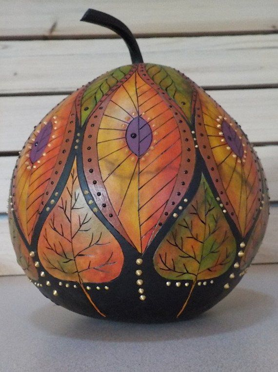 Beautiful hand-painted pumpkin decorated with summer and autumn leaves. Each sheet …   – painting envy