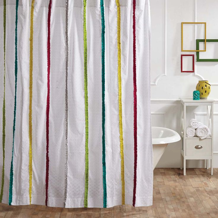 Showcasing Green, Pink, Fuchsia And Turquoise Ruffled Stripes On A Bright White  Eyelet Base