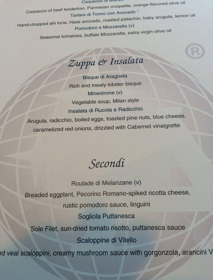 Azamara - menu