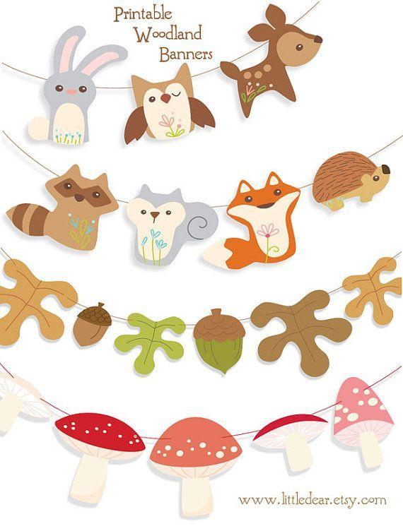 Printable Woodland Animals Banner PDF by littledear on Etsy