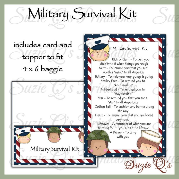 Military Survival Kit includes Topper and Card - US and International Sizes - Digital Printable - Immediate Download by SuzieQsCrafts on Etsy