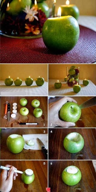 DIY Apple Candles...Thanksgiving decor - I do this every year, but with red, yellow and green apples clustered together throughout the table :)