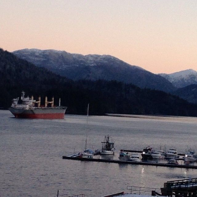 Cow Bay Prince Rupert. Taken at sunrise after a dusting of snow during the night. Photo taken by Mark Colgate just before he taught the 8 ways of the thunderbird in the ACE program.
