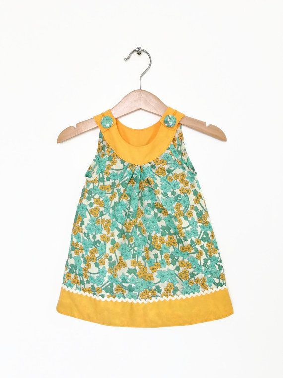 Baby dress, 6 to 12 months, zingy orange and turquoise, retro baby clothes, infant dress, baby girl dress, baby girl clothes UK via Etsy