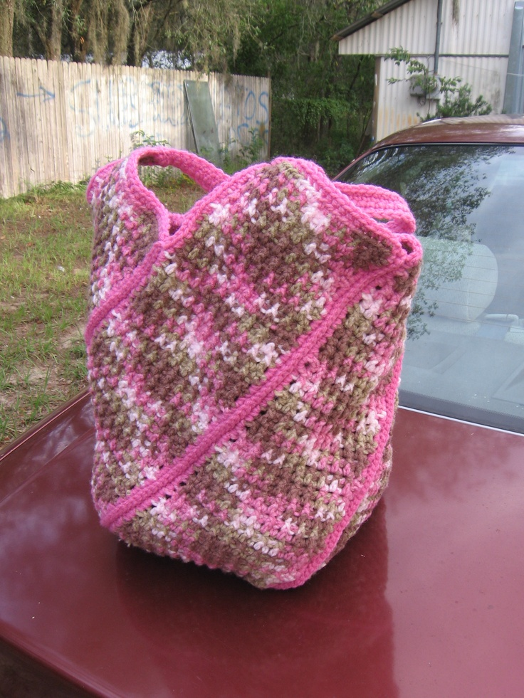 My Windmill Bag, a Red Heart Yarn pattern, that I made.  Ended up giving it to a good friend (heart sister) 'cause she liked it.