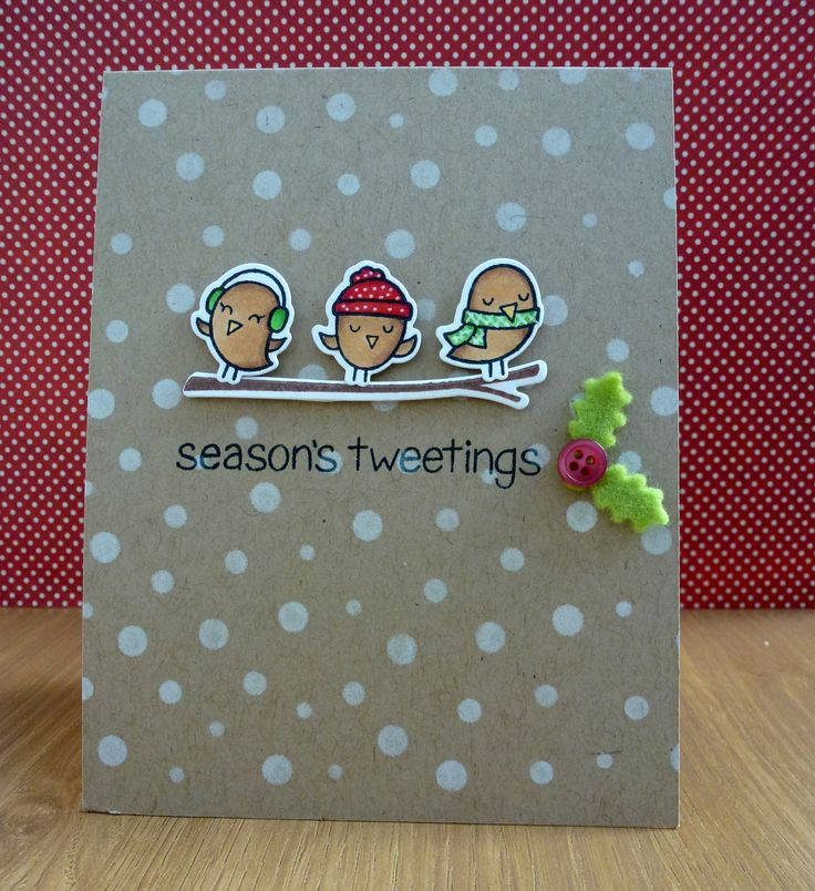 card christmas winter Lawn Fawn winter sparrows #wintersparrows and PTI holly die Seasons tweeting