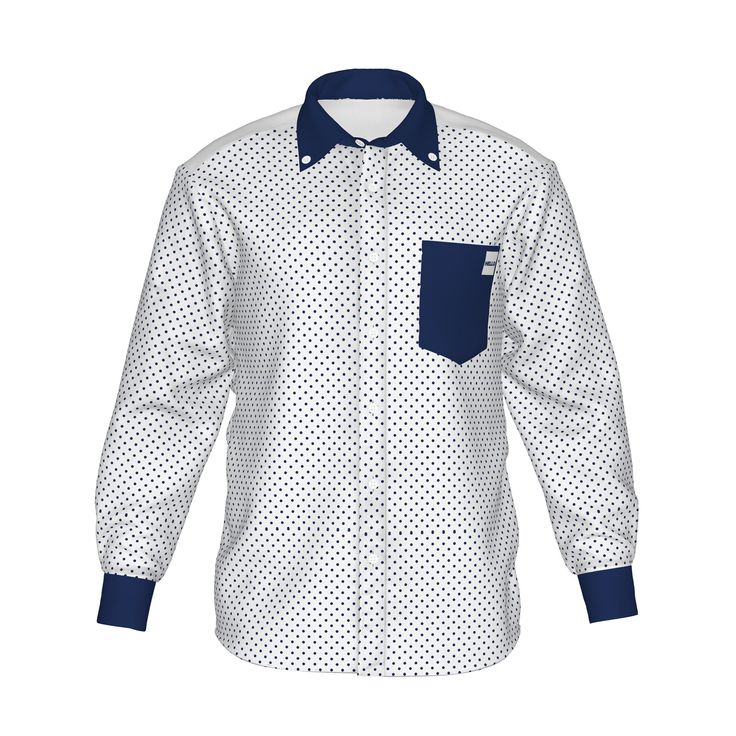 ●スマートで清潔感を感じさせる配色。●色で個性を際立たせ、柔らかな印象を感じるドット柄。●メンズ・レディース問わず着用していただけるデザイン。■「Hello」は『制服でも、ユニフォームでも、タウンファッションでも。演出シーンはあなた次第。』がコンセプト。 ■襟・袖・ポケットにアクセントカラーを使用した「HELLO」の「Accent」シリーズ。/HELLO Accent01 WHT - 白(紺ドット)×紺 - HELLO