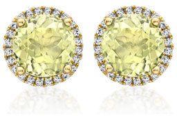 Kiki McDonough Grace Lemon Quartz Stud Earrings with Diamonds