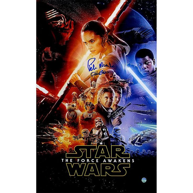 "Peter Mayhew Signed ""Chewbacca"" Star Wars VII: The Force Awakens 10"" x 16"" Full Cast Movie Poster"