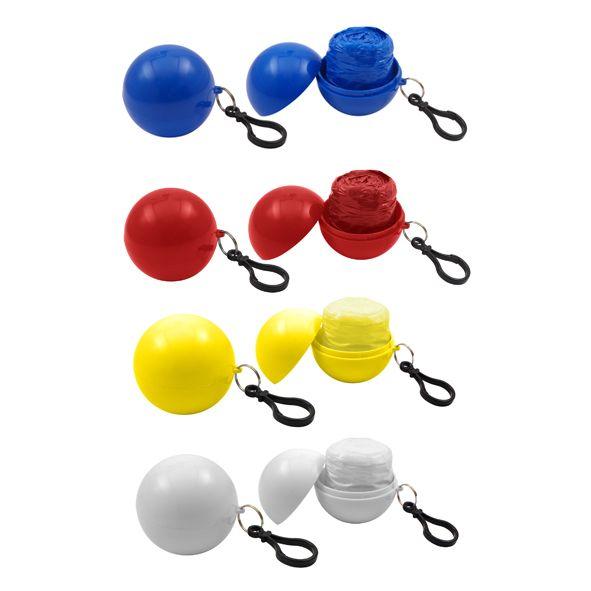COD.IN016 Capa de Agua (Poncho) comprimido en pelota plástica desmontable. Incluye un práctico mosquetón para colgar. Ideal para llevar adonde quieras y estar 100% preparado por si te pilla una lluvia repentina !!!