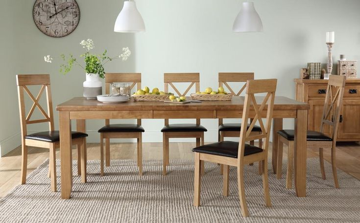 Highbury Oak Extending Dining Table with 8 Kendal Chairs (Brown Seat Pad) Only £599.99 | Furniture Choice