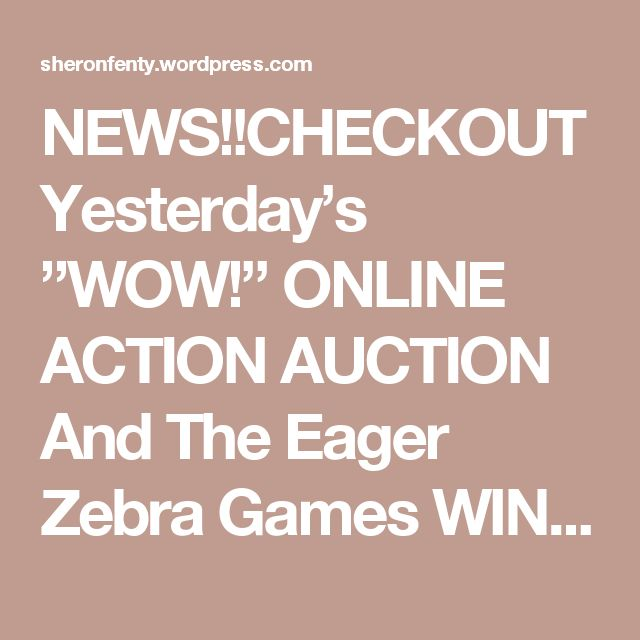 "NEWS!!CHECKOUT Yesterday's ""WOW!"" ONLINE ACTION AUCTION And The Eager Zebra Games WINS!! 