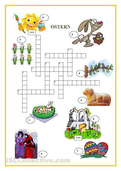Kreuzworträtsel A2 | Ostern | Pinterest